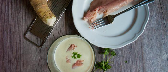 Suppe mit Kren und Forelle