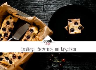 Saftige Brownies mit frischen Kirschen