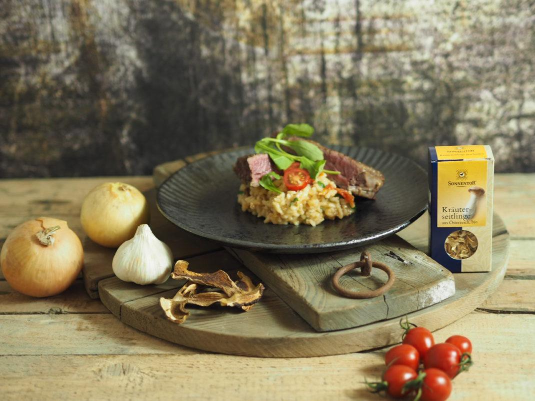 Steak vom Beiried mit Kräuterseitling Risotto Sonnentor