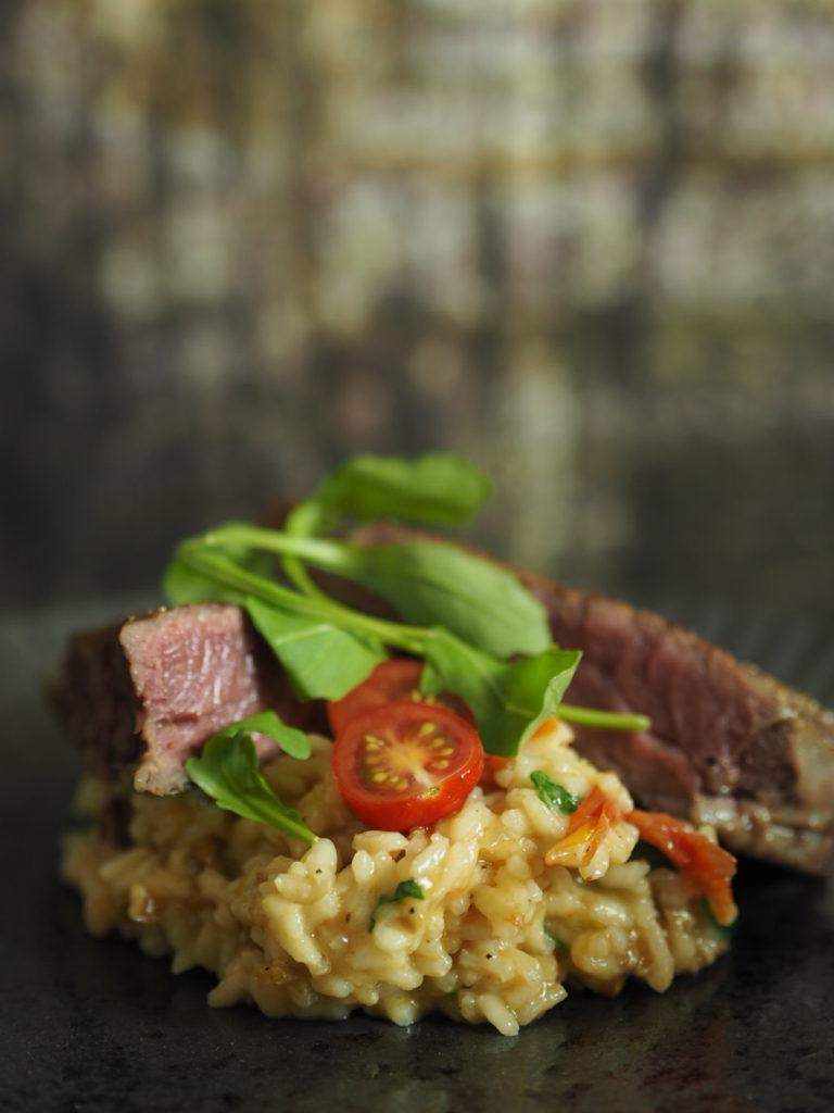 Steak von der Beiriedschnitte mit Kräuterseitling Risotto